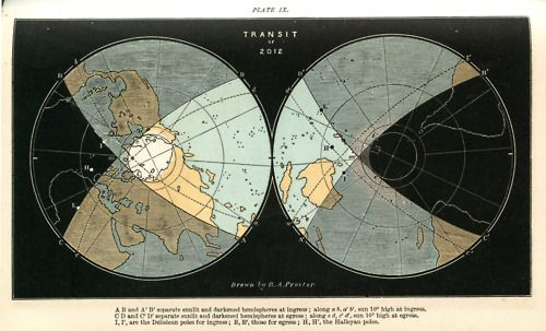 """""""An 1882 map by Richard A Proctor showing the cones of visibility of the 2012 transit of Venus (which happens tomorrow). It's remarkable partly as it's so well designed, and partly as it's over a hundred years old but matches the modern map."""": Remarkable Partly, Proctor Showing, Astro Maps, 2012 Transit, 1882 Map, Infographic, Antique Original"""