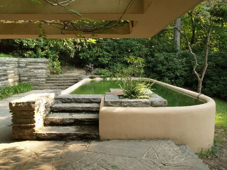 Fallingwater Pictures: Guest House Plunge Pool (Frank Lloyd Wright House  Above Waterfall) Part 78