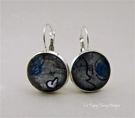 Mixed media navy blue and grey hue drop earrings with heart www.madeit.com.au/TupsyTurvy