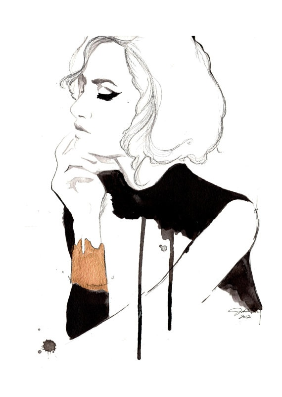 The Golden Cuff, watercolor and pen fashion illustration by Jessica Durrant