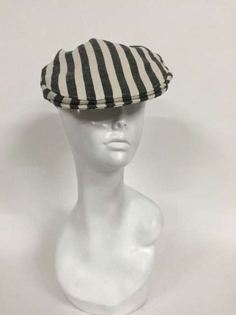 Striped flat cap, black and white-Size M | Serena Lindeman Millinery