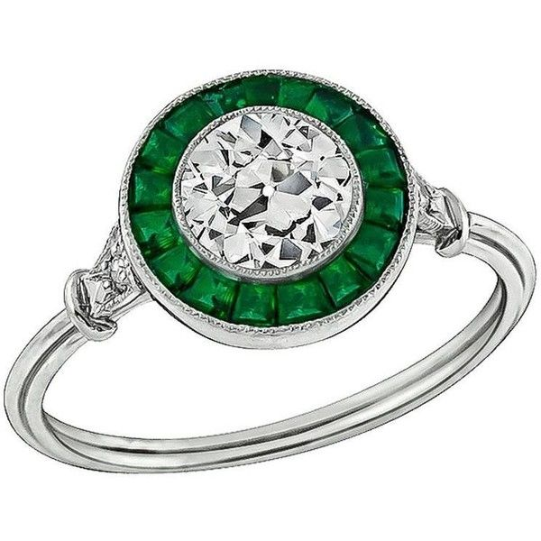 Preowned Amazing 0.82 Carat Old European Cut Diamond Emerald Platinum... ($5,120) ❤ liked on Polyvore featuring jewelry, rings, green, emerald diamond ring, emerald green jewelry, emerald engagement rings, preowned engagement rings and pre owned engagement rings