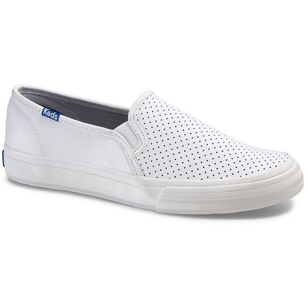 Keds Double Decker Retro Court Perforated Leather Slip On Sneakers ($60) ❤ liked