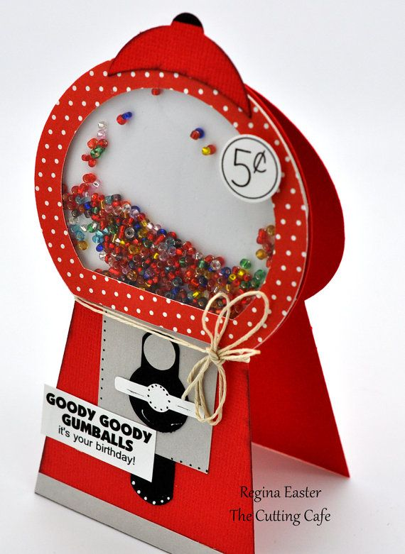 Gumball Machine SHAKER card by craftsbyhandtopaper on Etsy