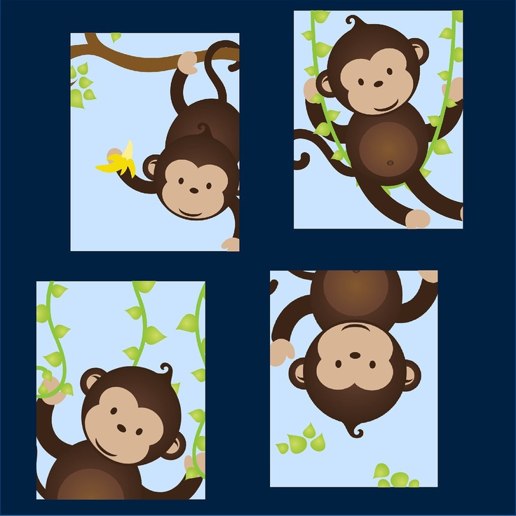 Monkey Nursery Art for boy Set of Four 8x10 by LittlePergola