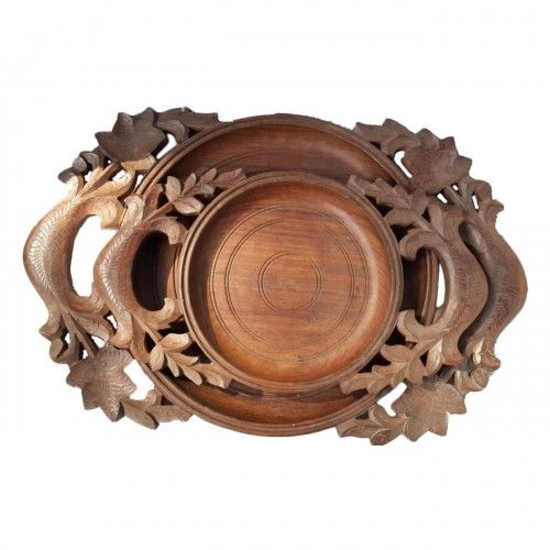 The Vivid #round serving handmade teak tray is as #versatile as it is #beautiful, #hand-carved by #Indian #Craftsman. Use this as a #serving #tray for your #indoor or outdoor needs with its easy grip #handles.