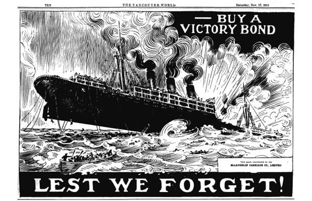 Nov. 17, 1917. Victory Bond ad from the First World War, featuring an Allied ship that has been torpedoed.