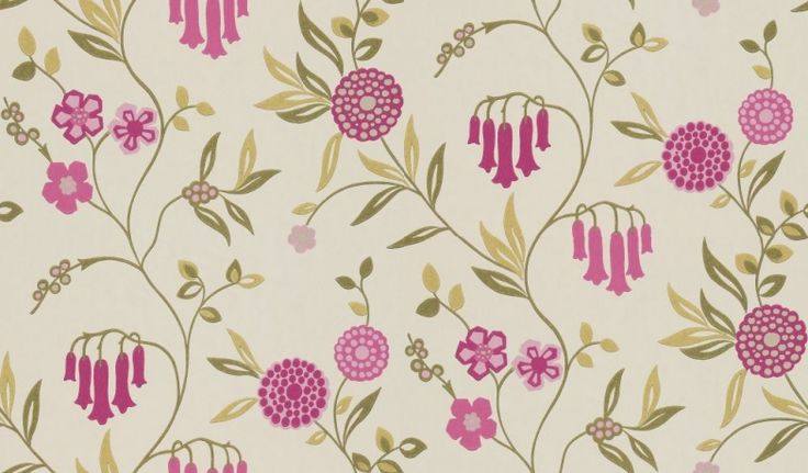Ophelia (110147) - Harlequin Wallpapers - A beautiful floral trail design with pink bells - showing in deep raspberry pink and green on off white. other colour ways available. Please request a sample for true match. Paste-the-wall product.