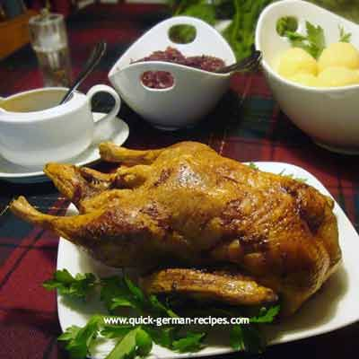 Traditional German Christmas Duck http://www.quick-german-recipes.com/roast-duck-recipe.html