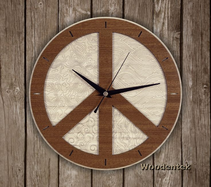 Handmade Peace Clock in wood. (Elements essential to life: Earth, Water, Air and Fire) Worldwide Shipping. Available in:  www.woodentek.etsy.com …. #Peace #Balance #Chakras #Energy #FengShui #Inspiration #Pilates #Spiritual #Taichi #TreeofLife #Yoga #Yogi #Zen #BirthdayGifts #MothersDay #FathersDay #Artisan #Giftforme #GiftGiving #Gifts #GiftsIdeas #Christmas #WishList #Giftformen #Giftforher #homedecor #WallClock #fanart #holiday #holidaygifts #giftguide #present #xmas #giftshop