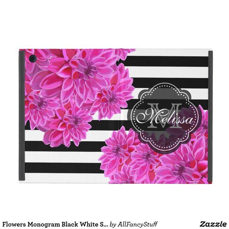 Flowers Monogram Black White Stripes Pattern iPad Mini Case