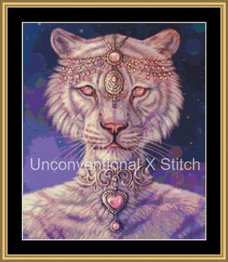 Big cat white tiger cross stitch pattern - Heartstone fullscale - modern counted cross stitch pattern Maquenda Licensed by UnconventionalX on Etsy