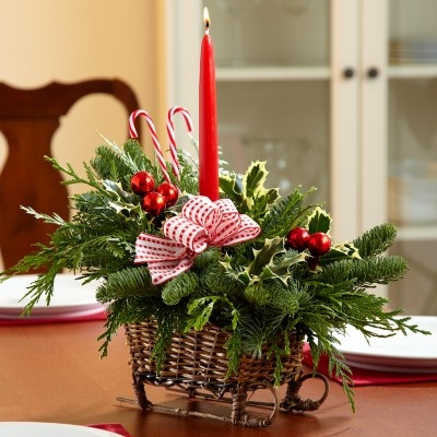 Christmas Sleigh Centerpiece. Put Oasis in sleigh and insert greenery. Put a candle in the center and embellish with ornaments, candy canes, and a bow.