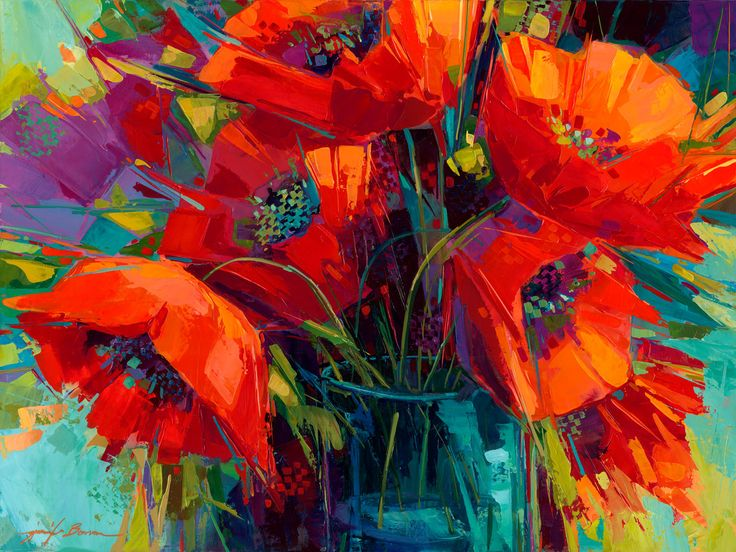 311 best paintings of flowers in vases images on pinterest for Floral acrylic paintings