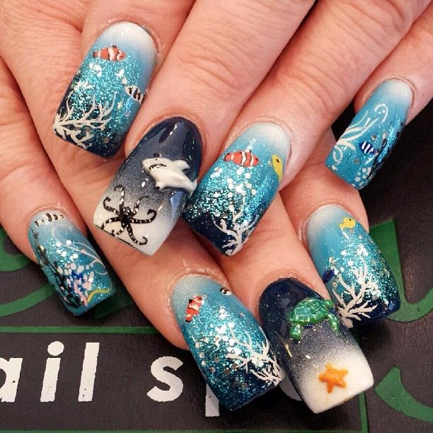 Reef scene nail art - 78 Best Nautical Nail Art Images On Pinterest Nautical Nail Art