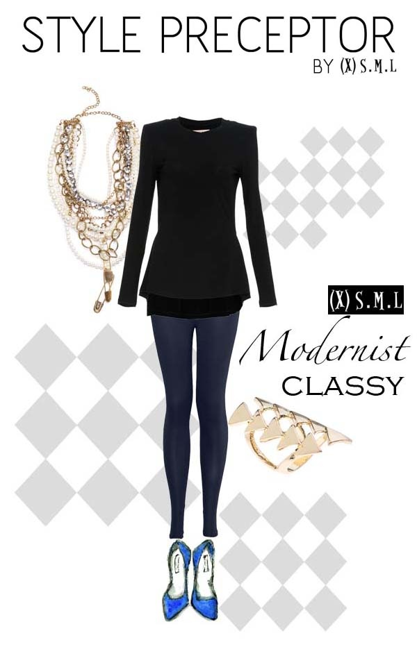 STYLE PRECEPTOR BY (X)S.M.L  Modernist Classy    SHAPED LONG SLEEVES TOP  http://www.xsml.co.id/women/wtops?product_id=259    SIMPLY LEGGING  http://www.xsml.co.id/women/wbottoms?product_id=205    COCKTAIL PEARL NECKLACE  http://www.xsml.co.id/women/waccessories?product_id=183    GOLDEN SHIELD RING  http://www.xsml.co.id/women/waccessories/wrings?product_id=354
