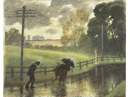 "Buckingham Road in the Rain, 1936, Rex Whistler. Reginald John ""Rex"" Whistler (24 June 1905 – 18 July 1944) was a British artist, designer and illustrator. He was killed in action commanding a tank in Normandy."