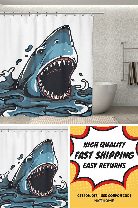 Shark Shower Curtain Just Arrived  We love the new Great White Surprise shark  bathroom curtains. The 25  best Shark bathroom ideas on Pinterest   Shark room  Shark