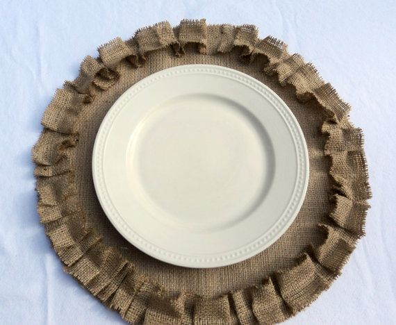 Rustic Wedding Table Settings | Burlap Placemats Rustic Wedding Table Setting by theruffleddaisy