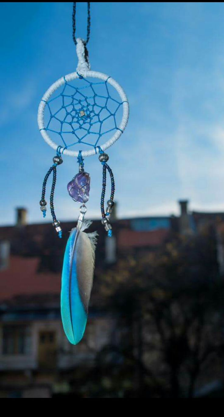 Dreamcatcher pendant with amethyst crystal & natural parrot feather