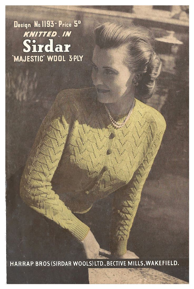 1940s Knitting Pattern for Ladies Jumper Cardigan in Lace Arrow Stitch - 38 in bust - Digital PDF by Interbellum on Etsy