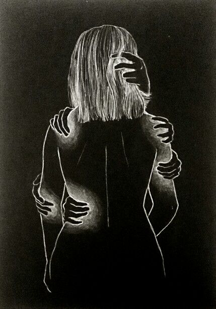 Untitled, Chloé   #black paper #black and white #bw #hair #black #hand #hands #china #white #girl #back #hips #line #drawing #draw #hug #hold #holding
