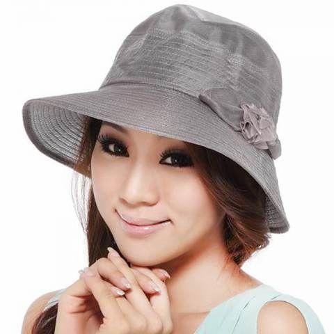 Pink silk wide brim sun hat for women flower decoration