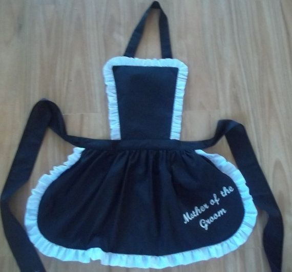 French Maid style Frilly Apron Embroidered door HomeisWheretheHeart - Ook bridesmais tags
