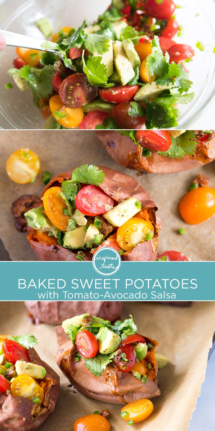 Baked Sweet Potatoes stuffed with roasted garlic, avocado and tomato salsa. If you love sweet potatoes, this recipe is for you!
