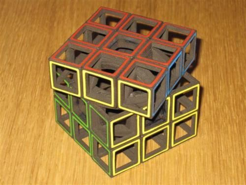 3D printed hollow Rubik's Cube.