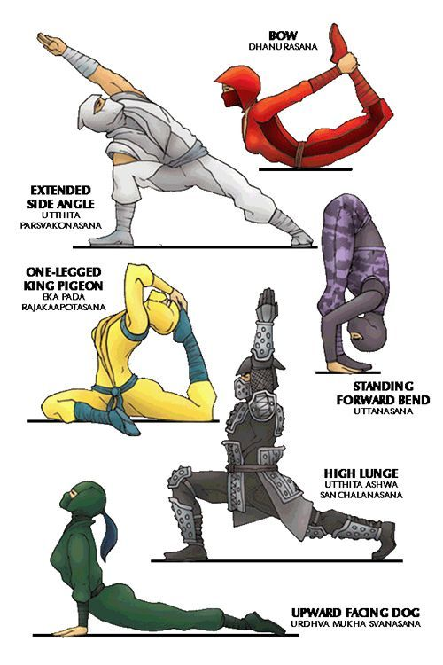 Cartoon Yoga Poses for Ninja Warriors.