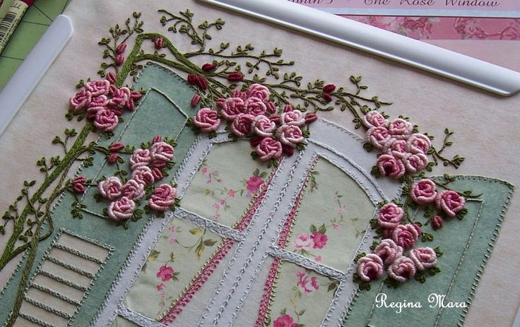 My English Country Garden quilt - Hand embroidery with watercolour painting - block 3 - rose detail