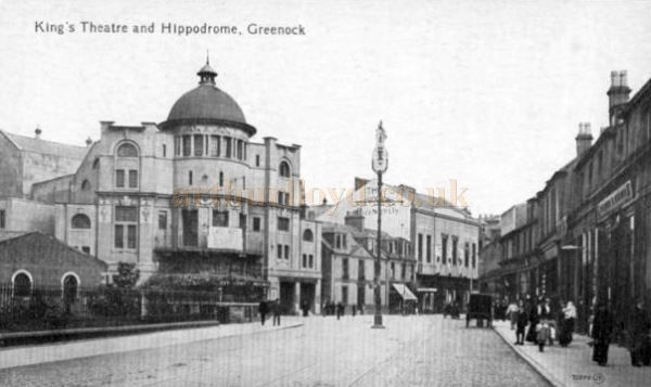 An early postcard showing the King's Theatre, Greenock on the left and the Hippodrome on the right - Courtesy Graeme Smith.