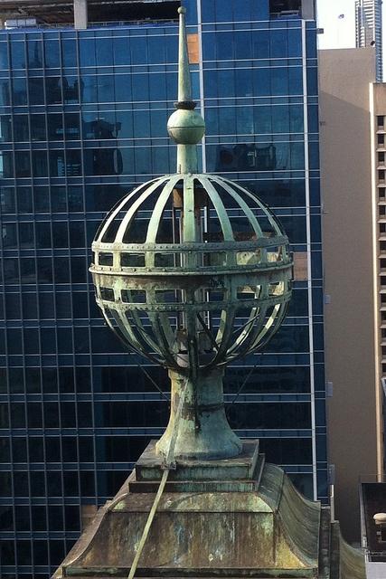 Brisbane City Hall's impressive copper sphere. This photo was taken by a crane operator during restoration works (2012). #brisbanecityhall