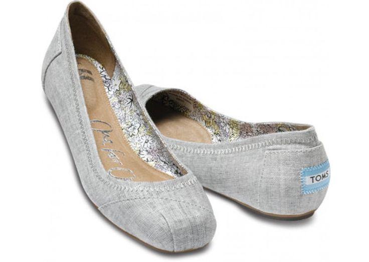 Natalia Grey Linen Ballet Flats - TOMS