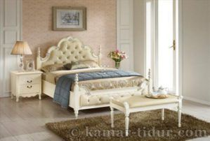 Bed & Night Stand White Furniture Jepara