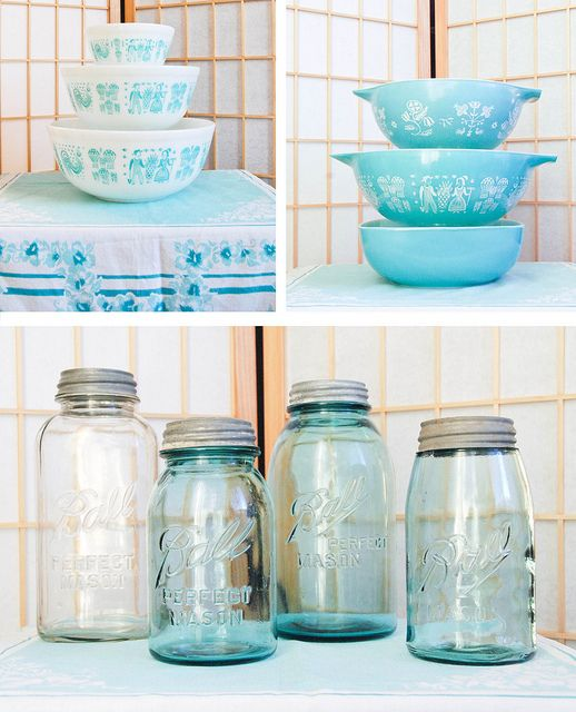The white and blue vintage Pyrex