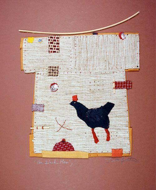 Janet Bolton. The Black Hen, textile picture, framed, 37 x 48cm, £490
