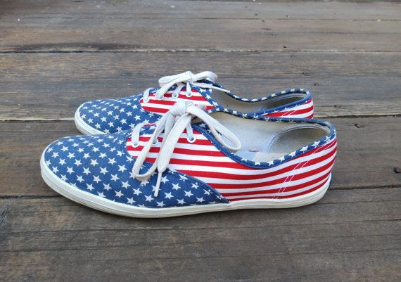 Keds Flag Sneakers Flats Canvas Tennis Shoes Size 10 Rubber Soles ...