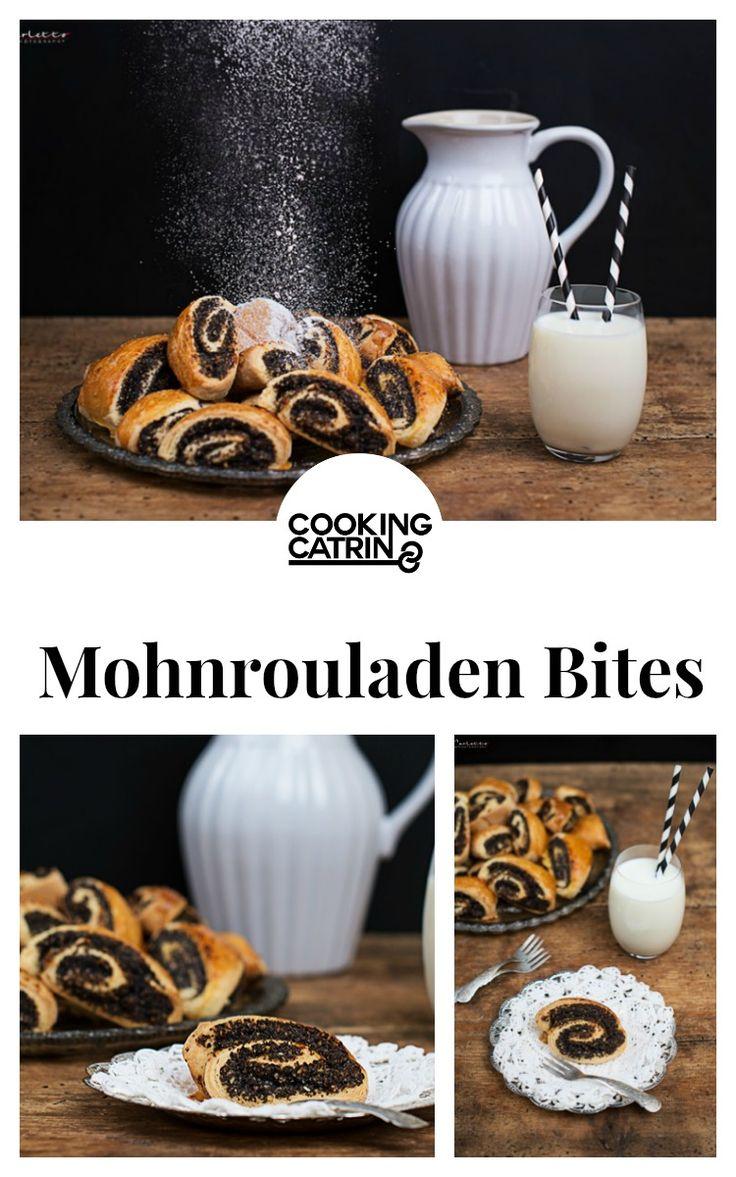 Mohnrouladen Bites, Mohnroulade, Mohnkuchen, Mohn Rezept, Backen, Dessert, Süßes, baking, sweets, Nachspeise, poppyseed recipe, poppyseed bites, poppyseed roll, poppyseed roll bites...http://www.cookingcatrin.at/mohnrouladen-bites/
