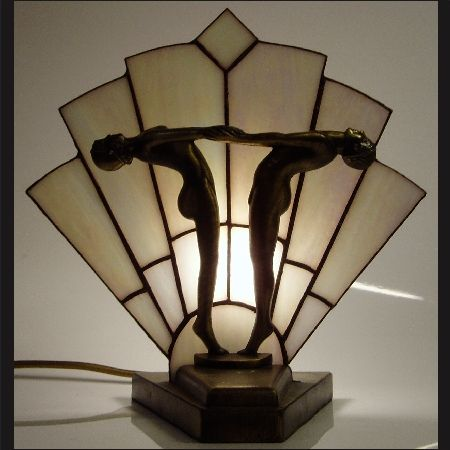 Tiffany Art Deco fan lamp by Carrie Williams