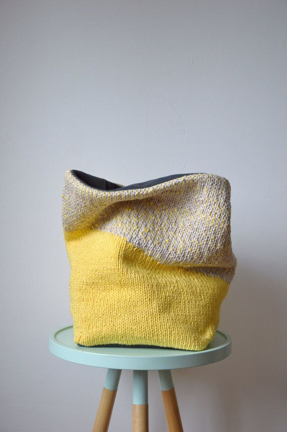 flexible storage basket  knit with woven lining  No.4 by hjartslag, $89.00