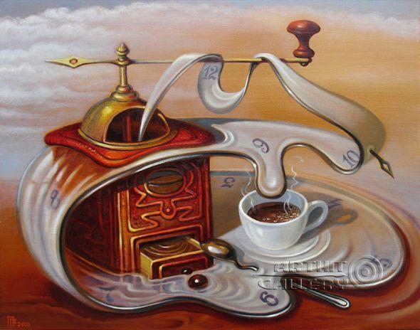 Gennady Privedentsev art paintings surreal Tea time