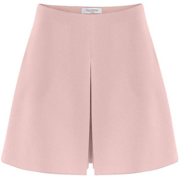Valentino Wool-Silk Shorts ($510) ❤ liked on Polyvore featuring shorts, rose, wool shorts, silk shorts, zipper shorts, slim shorts and slim fit shorts