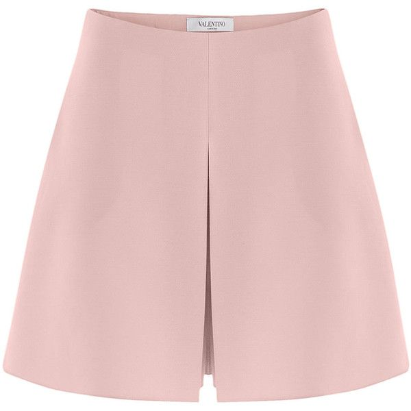 Valentino Wool-Silk Shorts (€470) ❤ liked on Polyvore featuring shorts, bottoms, skirts, rose, slim fit shorts, zipper shorts, pink shorts, wool shorts and slim shorts