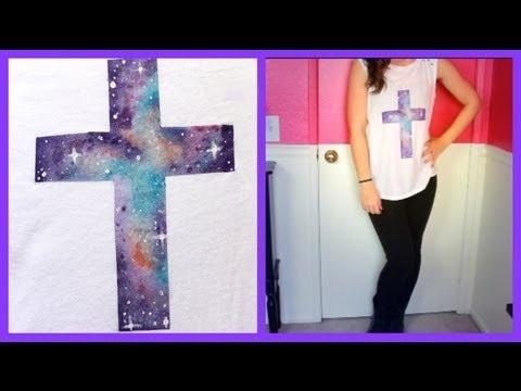 DIY Galaxy Cross Shirt Good video tutorial on galaxy painting