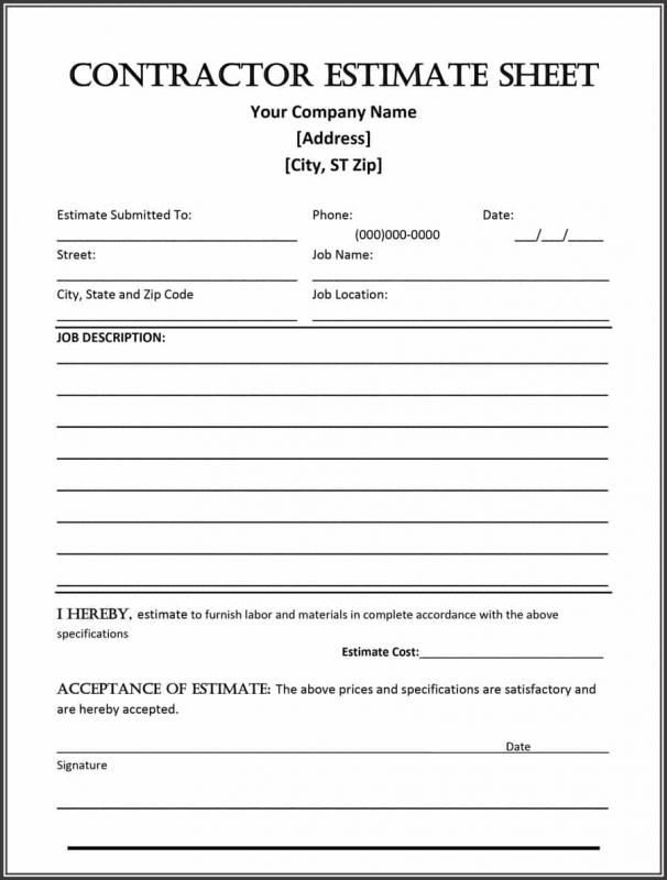 Construction Estimate Form Estimate Template Construction