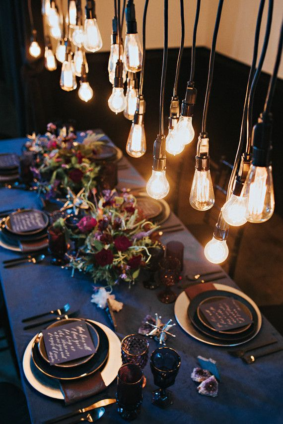 La Tavola Fine Linen Rental: Velvet Navy with Topaz Night Napkins | Photography: Hazelwood Photo, Design, Styling & Rentals: Something Borrowed Portland, Coordination: Ginger and You, Florals: Bramble Floral, Venue: The Colony at St. Johns
