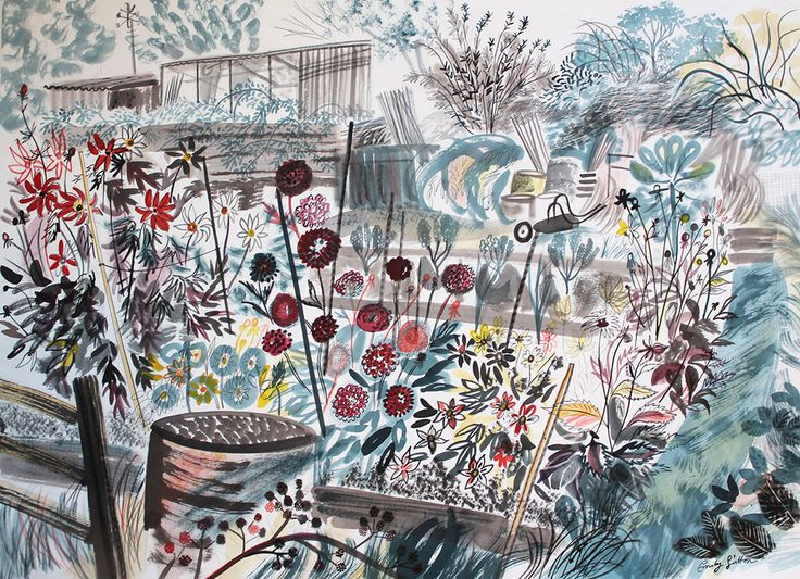 """Emily Sutton """"The Dahlia Patch"""" watercolour featuring in her 2014/2015 Yorkshire Sculpture Park exhibition http://www.stjudesfabrics.co.uk/blogs/news/15661825-emily-sutton-at-yorkshire-sculpture-park"""