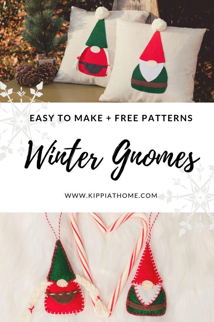 Diy Gnome Applique Pillows Easy Gnomes Diy How To Make Gnomes Easy Christmas Crafts Christmas Crafts Holiday Crafts